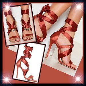 New! Nasty Gal Satin Wrap Around Heels US Size 7